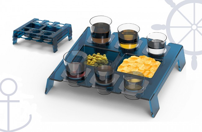 Snack & glasses boats tray